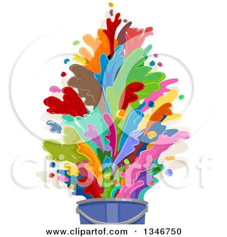Clipart of a Bucket with Colorful Paint Splashes - Royalty Free Vector Illustration by BNP Design Studio
