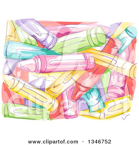 Clipart of a Background of Sketched Painted Crayons - Royalty Free Vector Illustration by BNP Design Studio