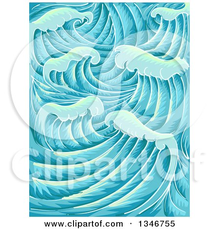 Clipart of a Background of Waves - Royalty Free Vector Illustration by BNP Design Studio