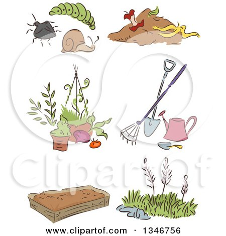 Clipart of a Sketched Garden Pests, Tools, Weeds and a Bed - Royalty Free Vector Illustration by BNP Design Studio