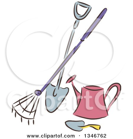 Clipart of a Sketched Garden Rake, Shovel, Trowel and Watering Can - Royalty Free Vector Illustration by BNP Design Studio