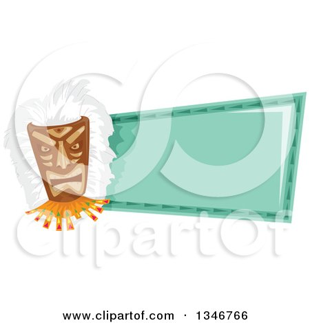 Clipart of a Tiki Mask a Blank Turquoise Sign - Royalty Free Vector Illustration by BNP Design Studio