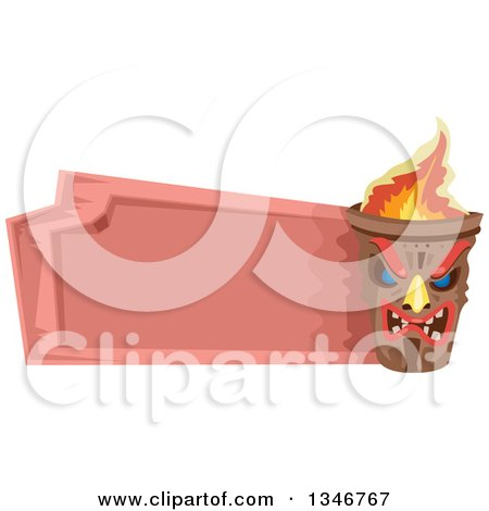 Clipart of a Fiery Tiki Statue with a Blank Pink Sign - Royalty Free Vector Illustration by BNP Design Studio