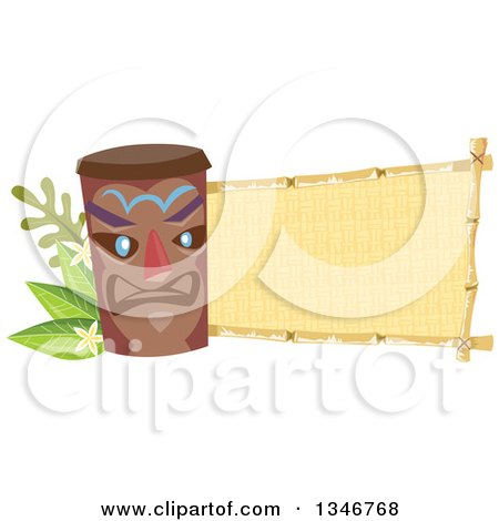 Clipart of a Tiki Statue with Branches, Plumeria Flowers and a Blank Banner - Royalty Free Vector Illustration by BNP Design Studio