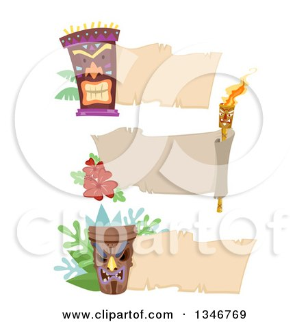 Clipart of Blank Banners with Tiki Statues and a Torch - Royalty Free Vector Illustration by BNP Design Studio