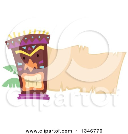 Clipart of a Tiki Statue with Palm Branches and a Blank Parchment Banner - Royalty Free Vector Illustration by BNP Design Studio