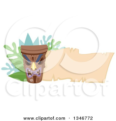 Clipart of a Tiki Statue with Branches and a Blank Parchment Banner - Royalty Free Vector Illustration by BNP Design Studio