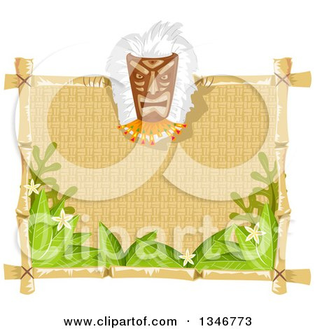 Clipart of a Tiki Mask on a Blank Sign with Leaves and Flowers - Royalty Free Vector Illustration by BNP Design Studio