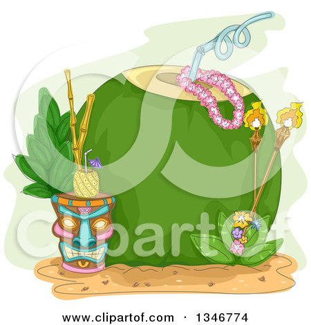 Clipart of a Giant Coconut with a Straw, Tiki Torches and Pinepple Beverage - Royalty Free Vector Illustration by BNP Design Studio