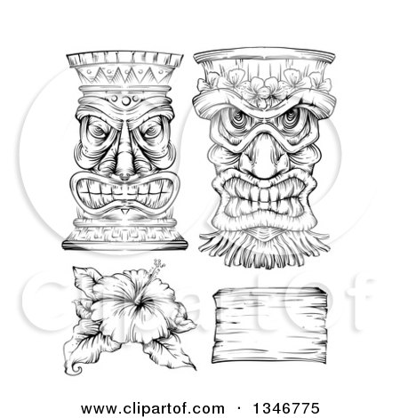 Clipart of a Black and White Engraved Tiki Statue, Mask, Hibiscus Flower and Wood Sign - Royalty Free Vector Illustration by BNP Design Studio