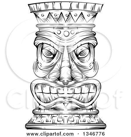 Clipart of a Black and White Engraved Tiki Statue - Royalty Free Vector Illustration by BNP Design Studio