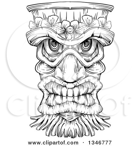 Clipart Of A Black And White Engraved Tiki Mask Royalty