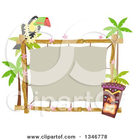 Clipart of a Toucan Bird Perched on a Topical Sign with a Tiki Statue and Palm Trees - Royalty Free Vector Illustration by BNP Design Studio