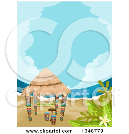 Clipart of a Tiki Hut on a Beach - Royalty Free Vector Illustration by BNP Design Studio
