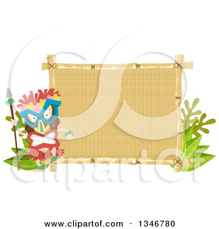Clipart of a Tribal Tiki Dancer Wearing a Mask by a Sign - Royalty Free Vector Illustration by BNP Design Studio