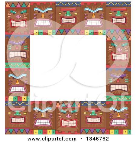Clipart of a Border of Tiki Mask Faces - Royalty Free Vector Illustration by BNP Design Studio