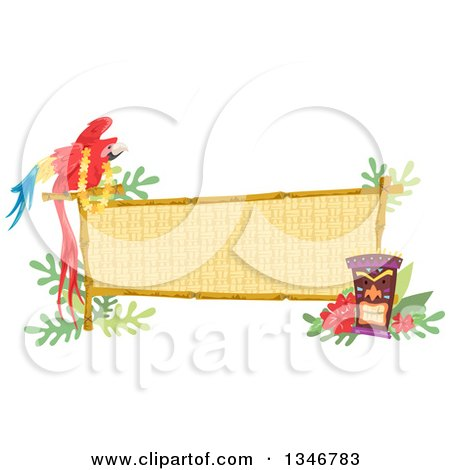 Clipart of a Macaw Parrot Wearing a Lei, Perched on a Bamboo Sign with a Tiki Statue and Hibiscus Flowers - Royalty Free Vector Illustration by BNP Design Studio