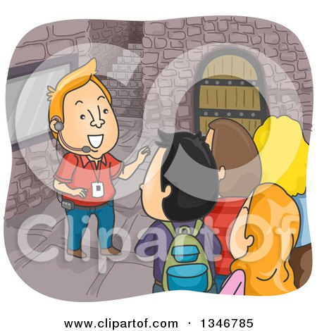 Clipart of a Cartoon Cacuasian Male Tour Guide Leading Toursists Through a Castle - Royalty Free Vector Illustration by BNP Design Studio