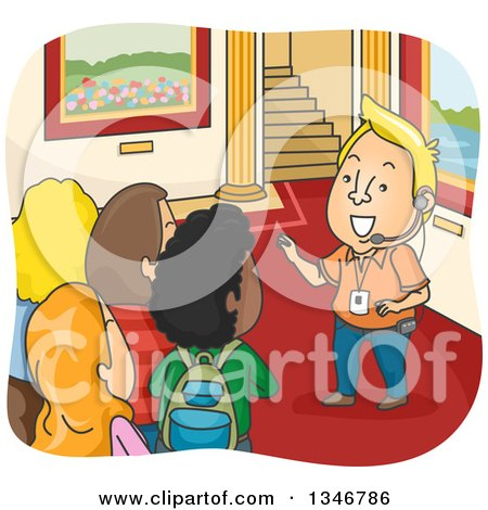 Clipart of a Cartoon Blond Cacuasian Male Tour Guide Leading Toursists Through a Palace - Royalty Free Vector Illustration by BNP Design Studio