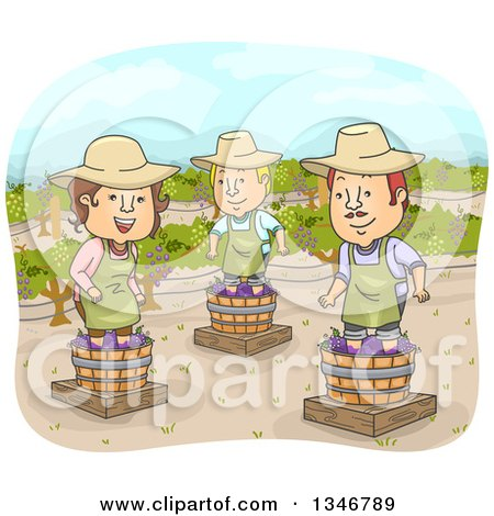 Clipart of a Cartoon Woman and Men Stomping Grapes at a Winery - Royalty Free Vector Illustration by BNP Design Studio