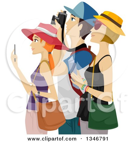 Clipart of a Group of Tourists Sight Seeing and Taking Pictures - Royalty Free Vector Illustration by BNP Design Studio