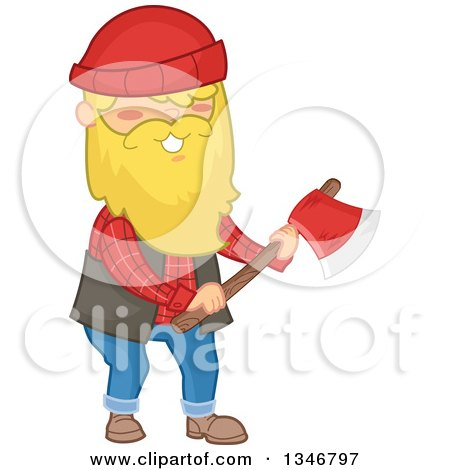 Clipart of a Cartoon Happy Blond Caucasian Male Lumberjack Holding an Axe - Royalty Free Vector Illustration by BNP Design Studio