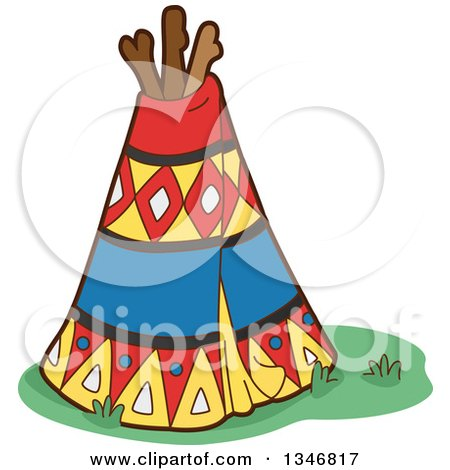 Clipart of a Native American Indian Teepee - Royalty Free Vector Illustration by BNP Design Studio