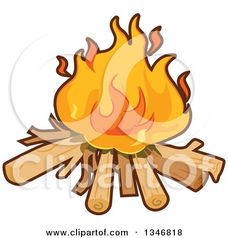 Clipart of a Cartoon Camp Fire - Royalty Free Vector Illustration by BNP Design Studio