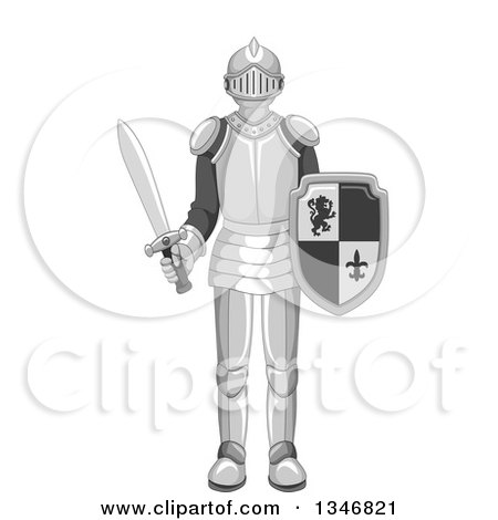 Clipart of a Cartoon Full Armor Knight Holding a Shield and Sword - Royalty Free Vector Illustration by BNP Design Studio
