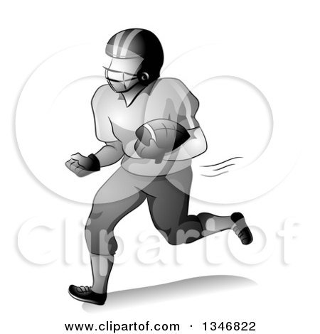 Clipart of a Grayscale American Football Player Running with a Ball Tucked in His Arm - Royalty Free Vector Illustration by BNP Design Studio