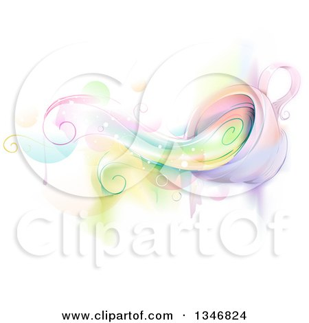 Clipart of a Whimsical Cup Spilling Colors - Royalty Free Vector Illustration by BNP Design Studio