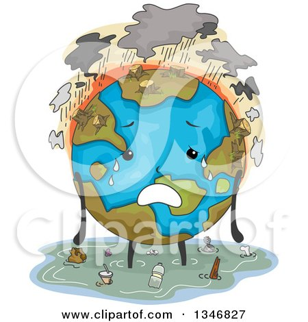 Clipart of a Deforested, Flooded and Polluted Earth Character - Royalty Free Vector Illustration by BNP Design Studio