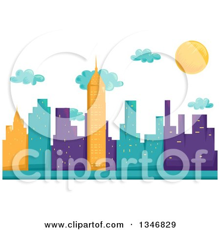 Clipart of a Background of Yellow, Turquoise and Purple City Skycrapers, Clouds and the Sun - Royalty Free Vector Illustration by BNP Design Studio