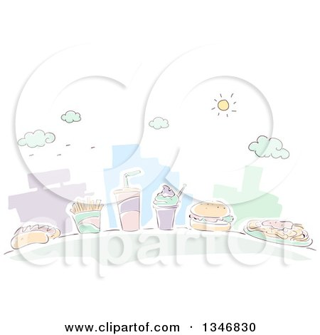 Clipart of Sketched City Buildings and Fast Food Items - Royalty Free Vector Illustration by BNP Design Studio