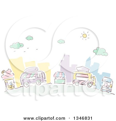 Clipart of Sketched Food Trucks and Vendors in a City Street - Royalty Free Vector Illustration by BNP Design Studio