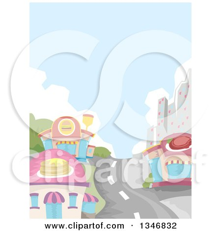 Clipart of a Road Leading Through a City and Restaurant Buildings - Royalty Free Vector Illustration by BNP Design Studio
