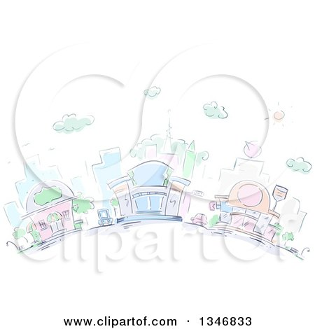 Clipart of Sketched City Buildings and Restaurants - Royalty Free Vector Illustration by BNP Design Studio