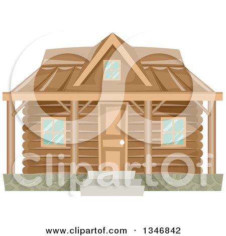 Clipart of a Log Cabin House Facade - Royalty Free Vector Illustration by BNP Design Studio