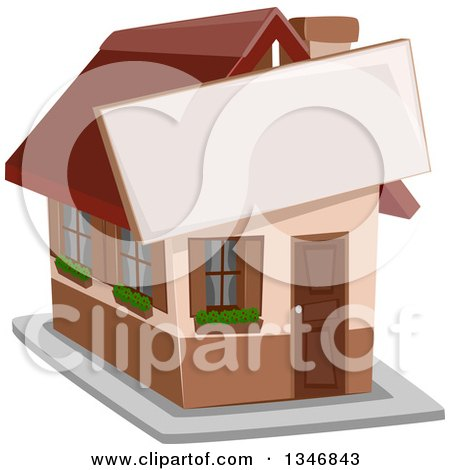Clipart of a House with a Sign Attached to the Front - Royalty Free Vector Illustration by BNP Design Studio