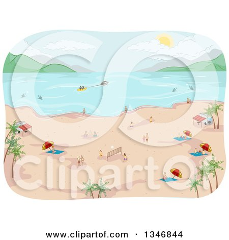 Clipart of a Tropical Beach with People on the Shore and in the Water - Royalty Free Vector Illustration by BNP Design Studio