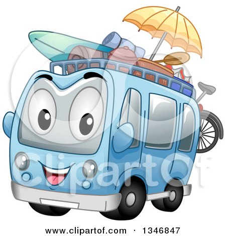 Clipart Of A Cartoon Tour Bus Character With Beach Gear Royalty Free Vector Illustration
