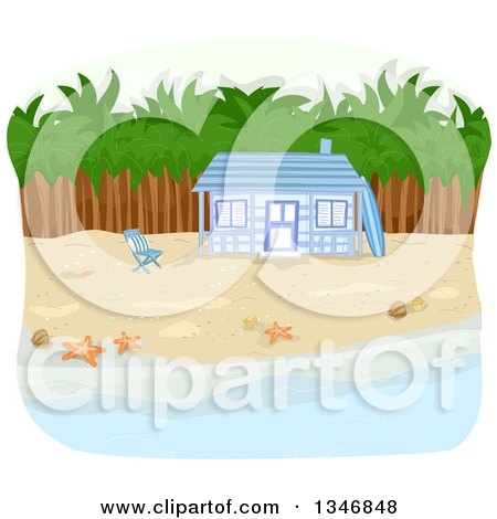 Clipart of a Blue Beachfront Cabin with Palm Trees - Royalty Free Vector Illustration by BNP Design Studio
