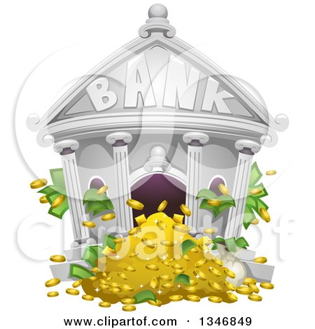 Clipart of a Bank Building with Cash and Money Flowing out - Royalty Free Vector Illustration by BNP Design Studio