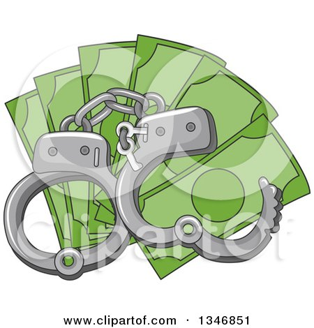 Clipart of Handcuffs over Cash Money - Royalty Free Vector Illustration by BNP Design Studio