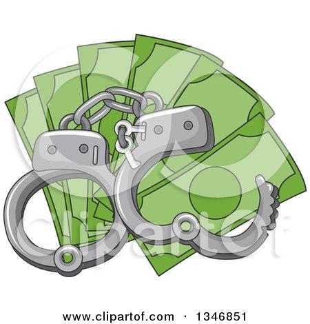 Handcuffs over Cash Money Posters, Art Prints