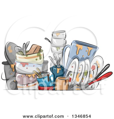 Clipart of Sketched Dirty Dishes - Royalty Free Vector Illustration by BNP Design Studio