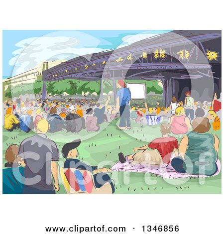 Clipart of a Sketched Concert Crowd at a Park - Royalty Free Vector Illustration by BNP Design Studio