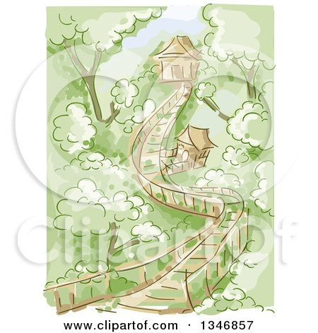 Clipart of a Sketched Wooden Bridge Leading to Tree Houses - Royalty Free Vector Illustration by BNP Design Studio