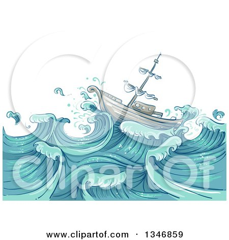 Clipart of a Sketched Ship on Giant Ocean Waves - Royalty Free Vector Illustration by BNP Design Studio