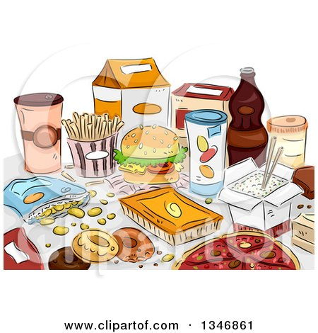 Clipart of Sketched Junk Foods on a Table - Royalty Free Vector Illustration by BNP Design Studio